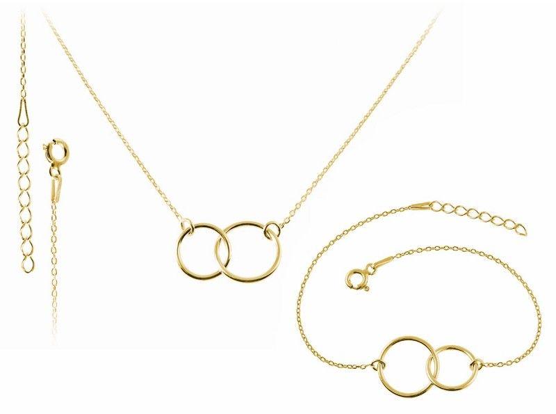 Delikatny pozłacany srebrny komplet celebrytka 2 x kółko kółeczko ring circle karma srebro 925 FN246K