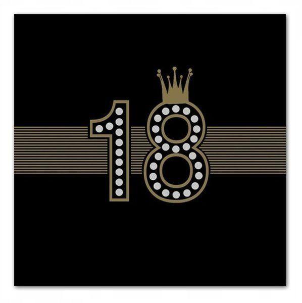 Serwetki papierowe na 18 urodziny czarne 33cm 20 sztuk SLOG050801