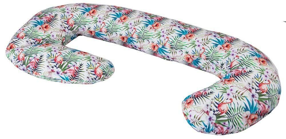 """Poduszka pozycjonująca """"C"""" rogal Botanika liście kwiaty flamingi biała dł. 300cm kolor 5 do karmienia ciążowa wypoczynkowa"""
