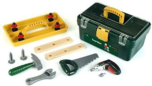 Theo Klein 8305 Zestaw narzędziowy Bosch I Działający na baterie bezprzewodowy śrubokręt Ixolino i wiele akcesoriów, w tym młotek, piła, regulowany klucz Wymiary: 32 cm x 20,5 cm x 15 cm