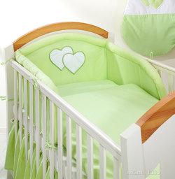 MAMO-TATO pościel 2-el Serduszka w zieleni do łóżeczka 70x140cm