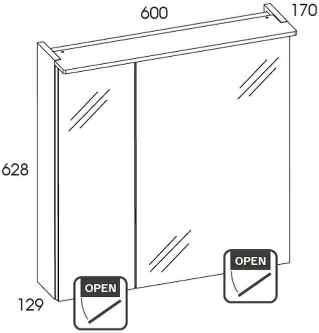 Szafka z lustrem i panelem led 60 2D White Elita (904607)