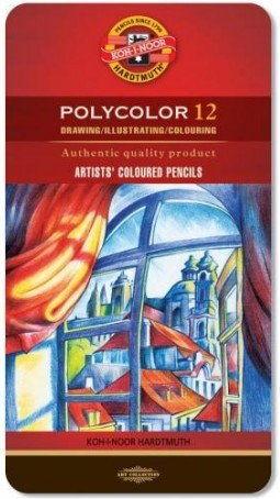 Zestaw Kredek Artystycznych Koh-I-Noor Polycolor Szarości 12 szt. (Metalbox)