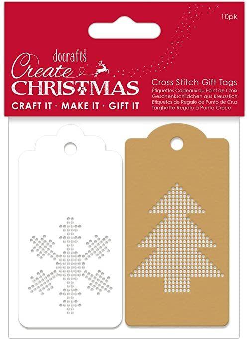 Create Christmas Etykiety prezentowe, białe i brązowe, jeden rozmiar