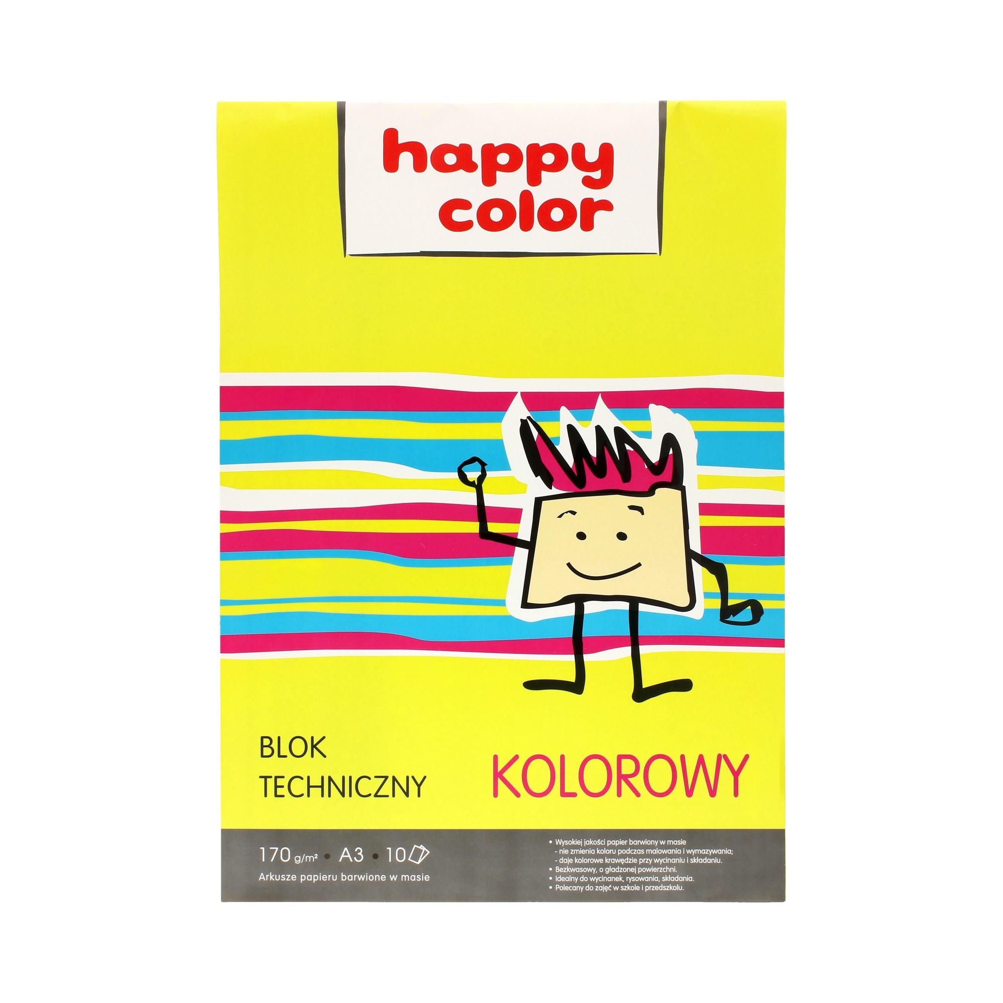 Blok techniczny A3/10 kolor 170g Happy Color