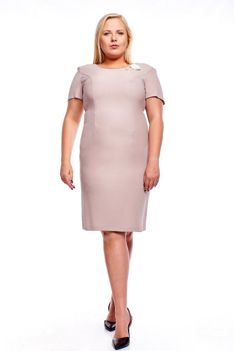 Sukienki,Sukienka FSU1005 BEŻOWY