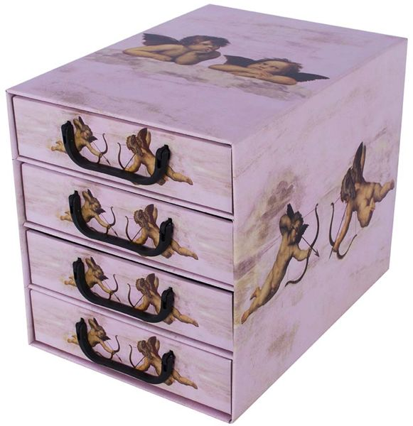 Pudełko kartonowe 4 szuflady pionowe ANIOŁKI RÓŻOWE