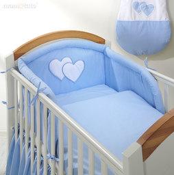 MAMO-TATO pościel 2-el Serduszka w błękicie do łóżeczka 70x140cm