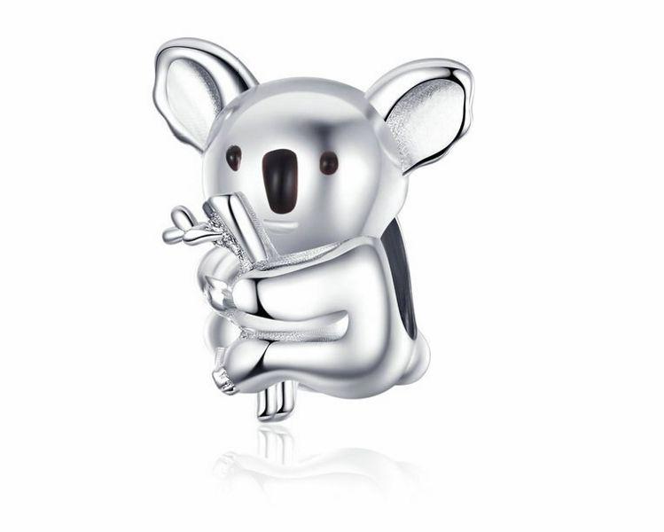Rodowany srebrny charms do pandora miś koala coala bear srebro 925 SY063