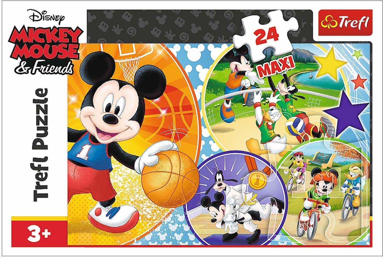 Trefl Czas Na Sport Puzzle 24 Maxi Disney o Wysokiej Jakości Nadruku dla Dzieci od 3 lat