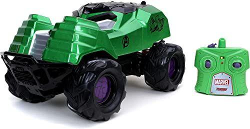 Jada Toys 253228003 Marvel RC Hulk Smasher, zdalnie sterowany samochód, z turbo, funkcja ładowania USB, 3,6 m/s, odległość sterowania 25 m, skala 1:14, zielony