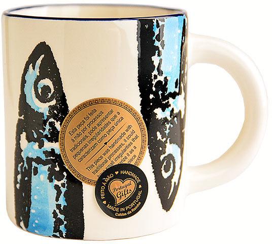 Kubek ceramiczny prosty Niebieske Sardynki  8,5cm - kolekcja OLHA SARDINHA
