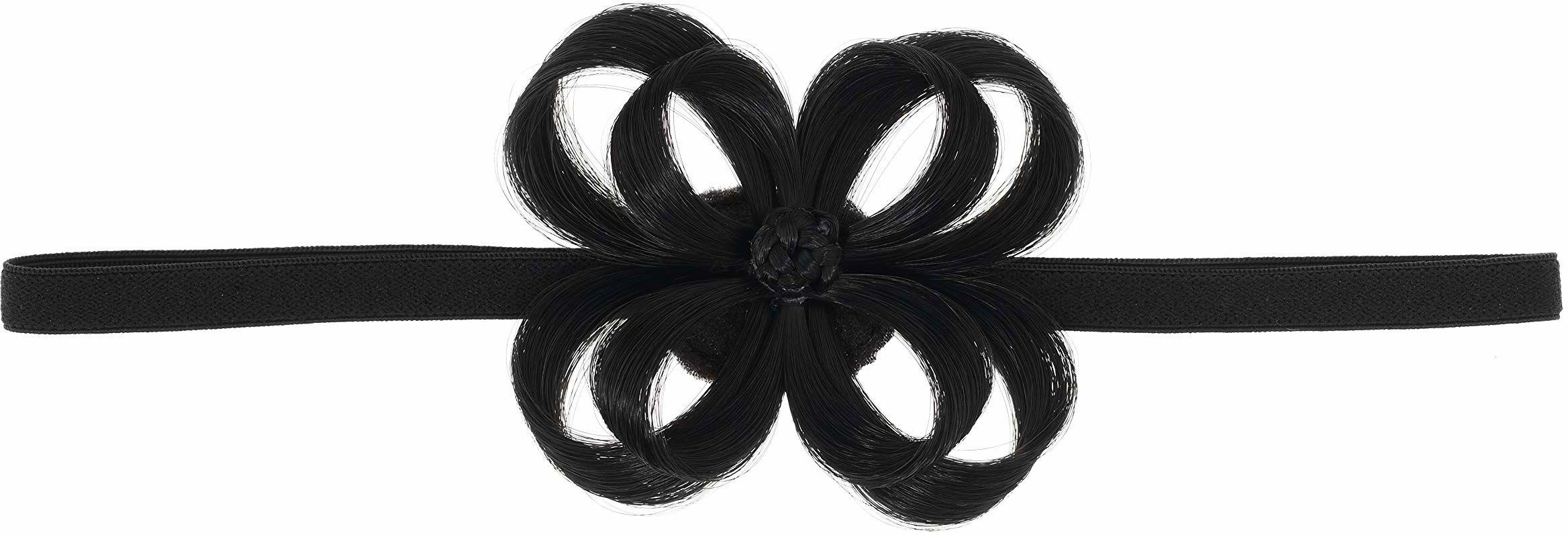 Love Hair Extensions Kwiat na elastycznej opasce na głowę kolor 1 - głęboka czerń, 1 opakowanie (1 x 1 sztuka)