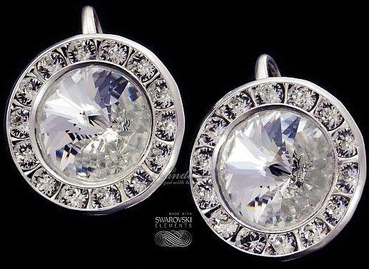 Kryształy ozdobne kolczyki CRYSTAL SREBRO ORYGINAŁ