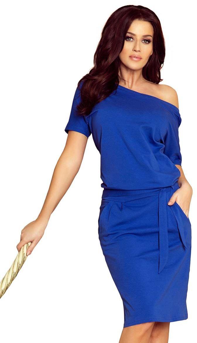 Chabrowa nowoczesna prosta sukienka z szerokim dekoltem