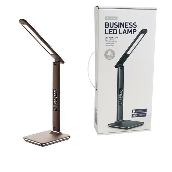 Lampa na biurko LED z zegarkiem BRĄZOWA