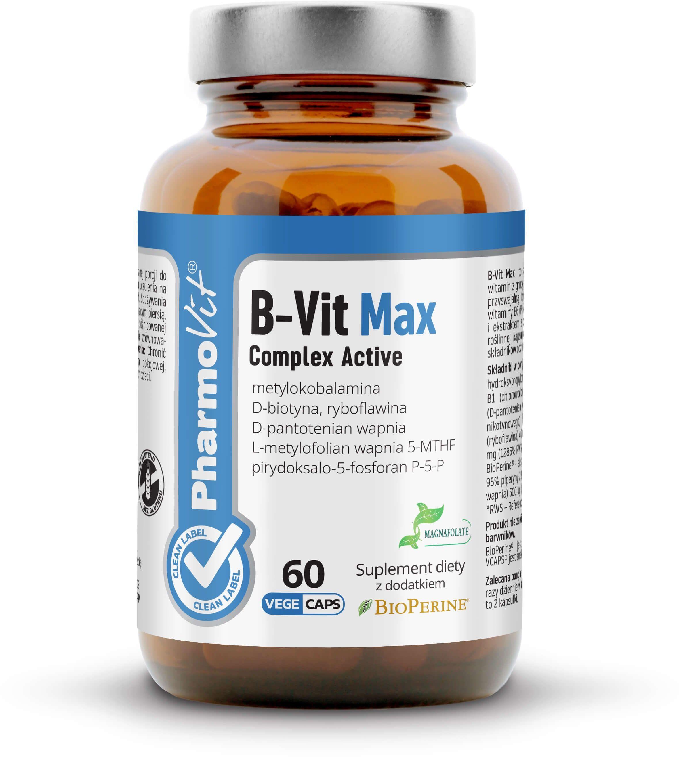 B-VIT Max Witaminy B-Complex Active (60 kaps) CLEAN Pharmovit