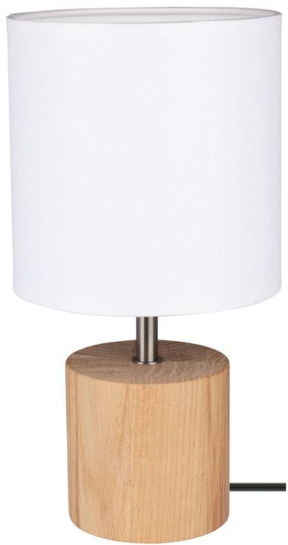 Spot Light 7181974 Trongo Round lampa stołowa drewno dab olejowany/czarny PVC abażur tkanina biały 1xE27 25W 30cm