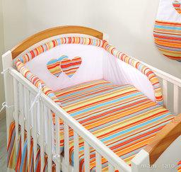 MAMO-TATO pościel 3-el Serduszka w paseczkach pomarańczowych do łóżeczka 70x140cm