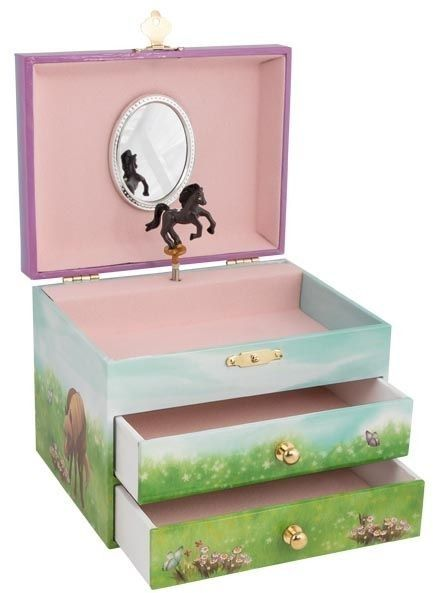 Szkatułka z pozytywką i dwoma szufladkami
