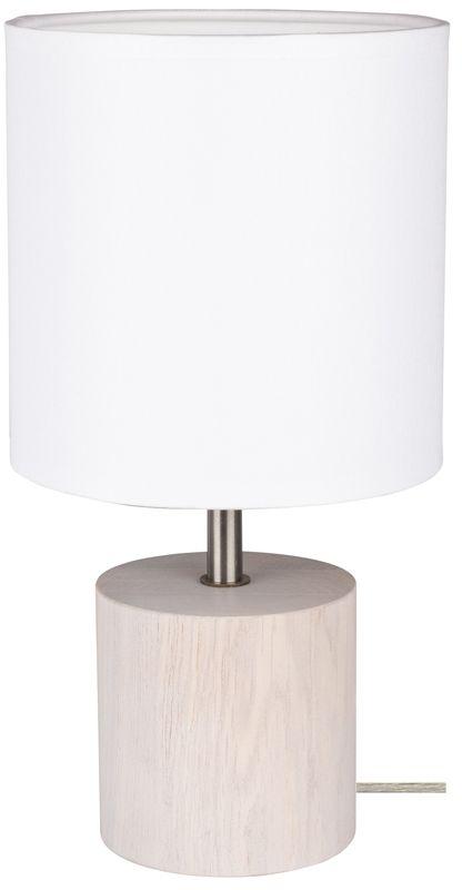 Spot Light 7181032 Trongo Round lampa stołowa drewno dąb bielony/transparentny PVC/abażur tkanina biały 1xE27 25W 30cm