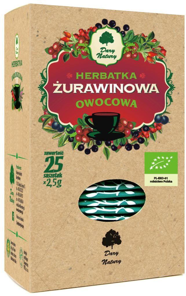 Herbatka żurawinowa bio 25 x 2,5 g - dary natury