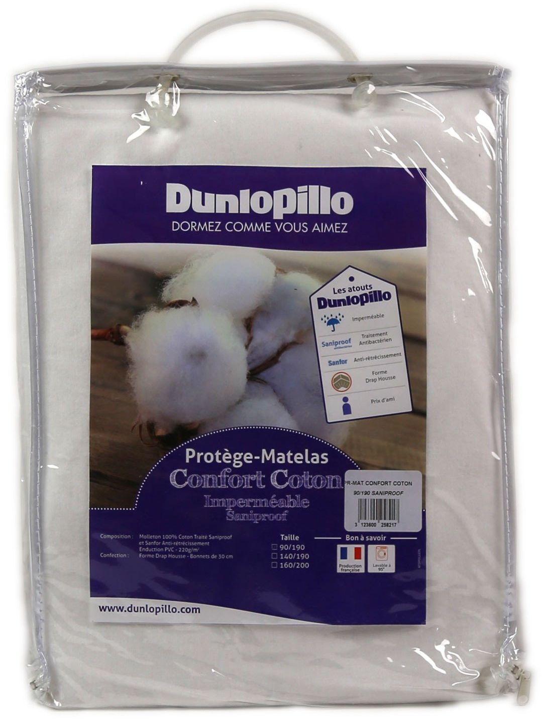 Dunlopillo PLGUEH140190DPO ochraniacz na materac, 140 x 190 cm, biały