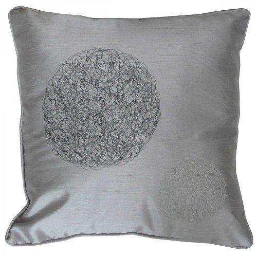 Poduszka poduszka dekoracyjna haft księżyc 40 x 40 cm szara