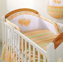 MAMO-TATO pościel 3-el Serduszka w paseczkach marchewkowych do łóżeczka 70x140cm