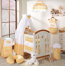 MAMO-TATO pościel 5-el Serduszka w paseczkach marchewkowych do łóżeczka 70x140cm - Tkanina