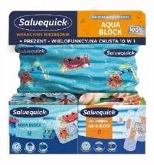 Zestaw plaster Salvequick Aqua Block 16 szt + Kids 12 szt + chusta gratis