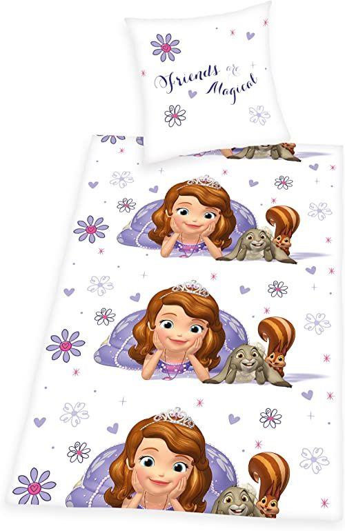Herding Disney''s Sofia pierwszy zestaw pościeli, poszewka na poduszkę 80 x 80 cm, poszewka na kołdrę 135 x 200 cm, 100% bawełna, linon, z praktyczną listwą guzikową