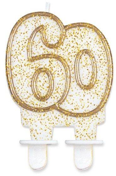 Świeczka 60 złoty brokat PF-SCZK60