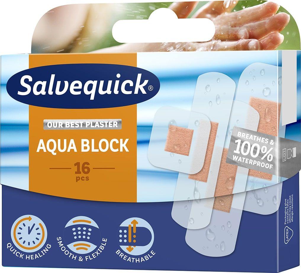 Salvequick Aqua Block Plaster przyspieszający gojenie 16 szt
