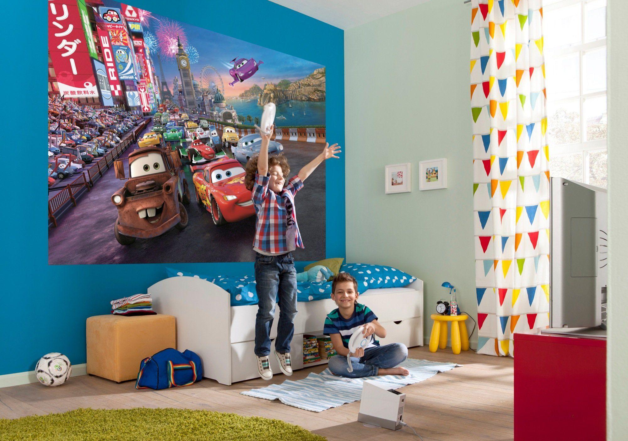 Komar Disney Pixar Samochody Wyścig Tapeta Mural, Winyl, Wielokolorowa, 254 x 0,2 x 184 cm