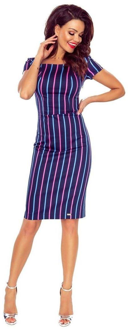 Elegancka sukienka w pionowe paseczki