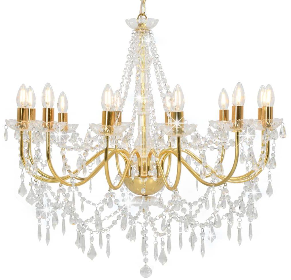 Złoty żyrandol kryształowy świecznik - EX99-Antos