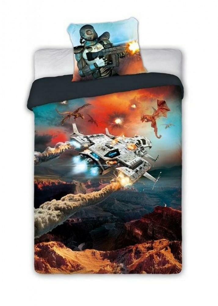 Pościel bawełniana 140x200 Gamer 019 młodzieżowa statek kosmiczny planeta galaktyka dla gracza pomarańczowa szara 9043