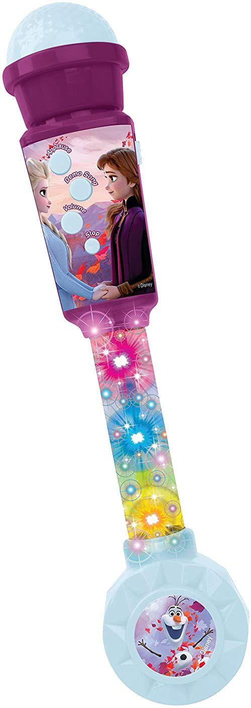 Lexibook MIC90FZ mikrofon z mrożonym mikrofonem dla dzieci, gra muzyczna, wbudowany głośnik, efekty świetlne, wtyczka kabla AUX IN, fioletowy/niebieski