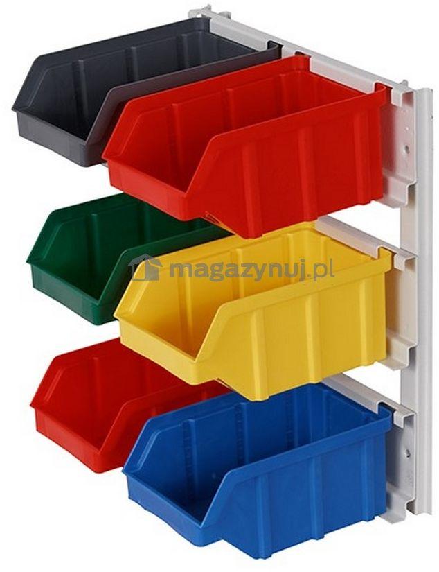 Wieszak do zawieszania pojemników warsztatowych, wym. wieszaka 259 x 311 mm - 6 pojemników (Pojemniki z pojemnikami)
