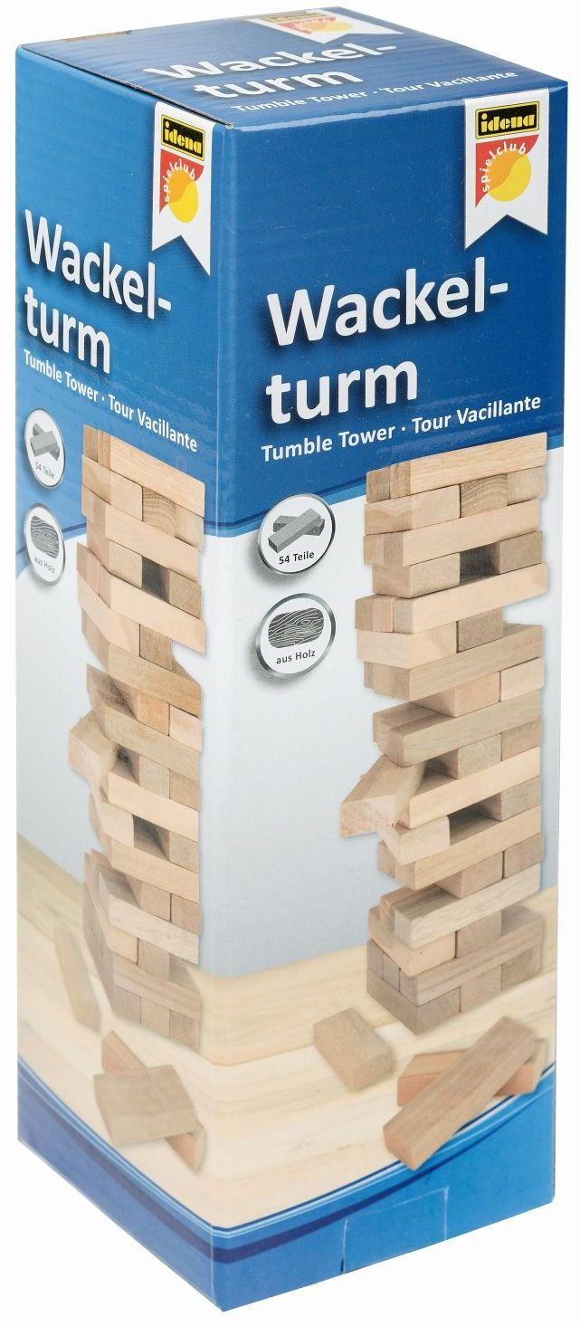 Idena 6060013 - wieża ruchoma, gra zręcznościowa z 54 klockami z drewna, ok. 8 x 8 x 26 cm