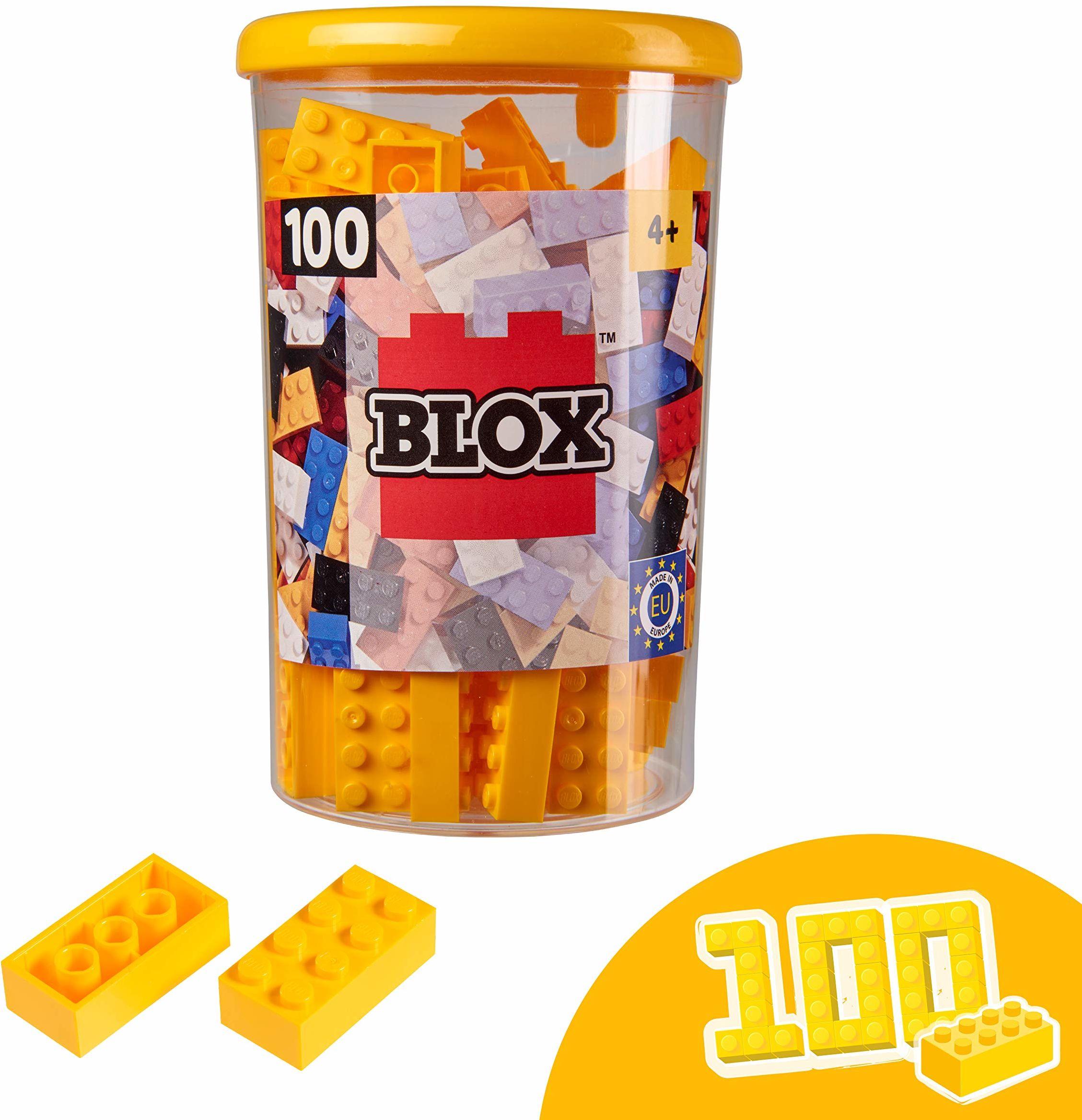 Simba 104118898, Blox, 100 żółtych klocków dla dzieci od 3 lat, 8 kamieni, w zestawie puszka, wysoka jakość, w pełni kompatybilne z produktami innych producentów