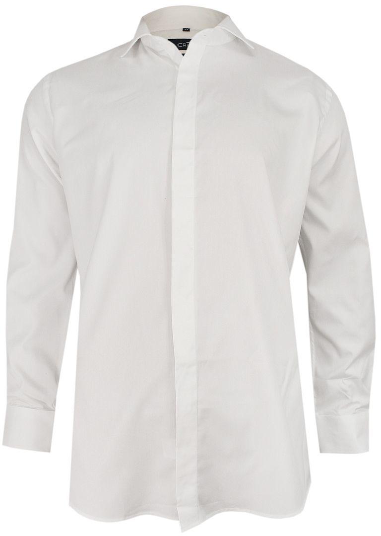 Biała Elegancka Koszula Męska z Długim Rękawem, 100% Bawełna -CHIAO- Taliowana, Wizytowa KSDWCHIAOM401C