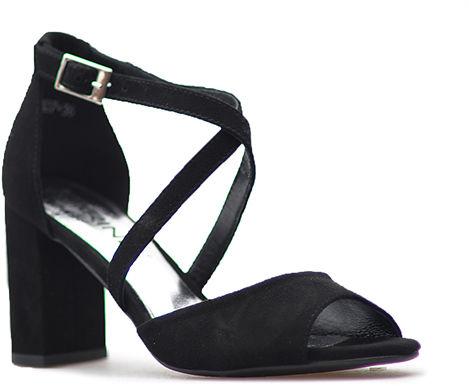 Sandały na Klocku Karino Czarne Zamsz
