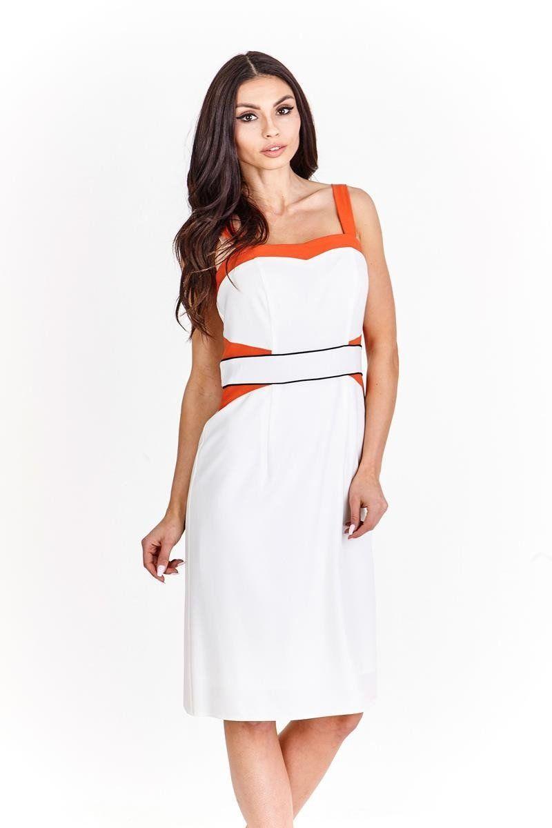 Sukienka FSU1009 EKRI POMARAŃCZOWY MOCNY