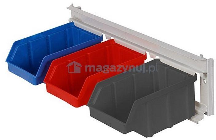 Wieszak do zawieszania pojemników warsztatowych, wym. wieszaka 389 x 110 mm - 3 pojemniki (Pojemniki z pojemnikami)