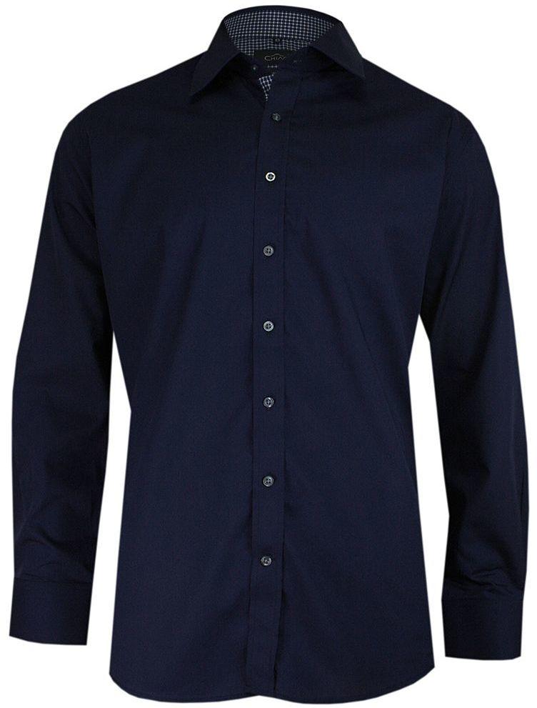 Granatowa Elegancka Koszula Męska z Długim Rękawem, 100% Bawełna -CHIAO- Taliowana KSDWCHIAOM3A032C