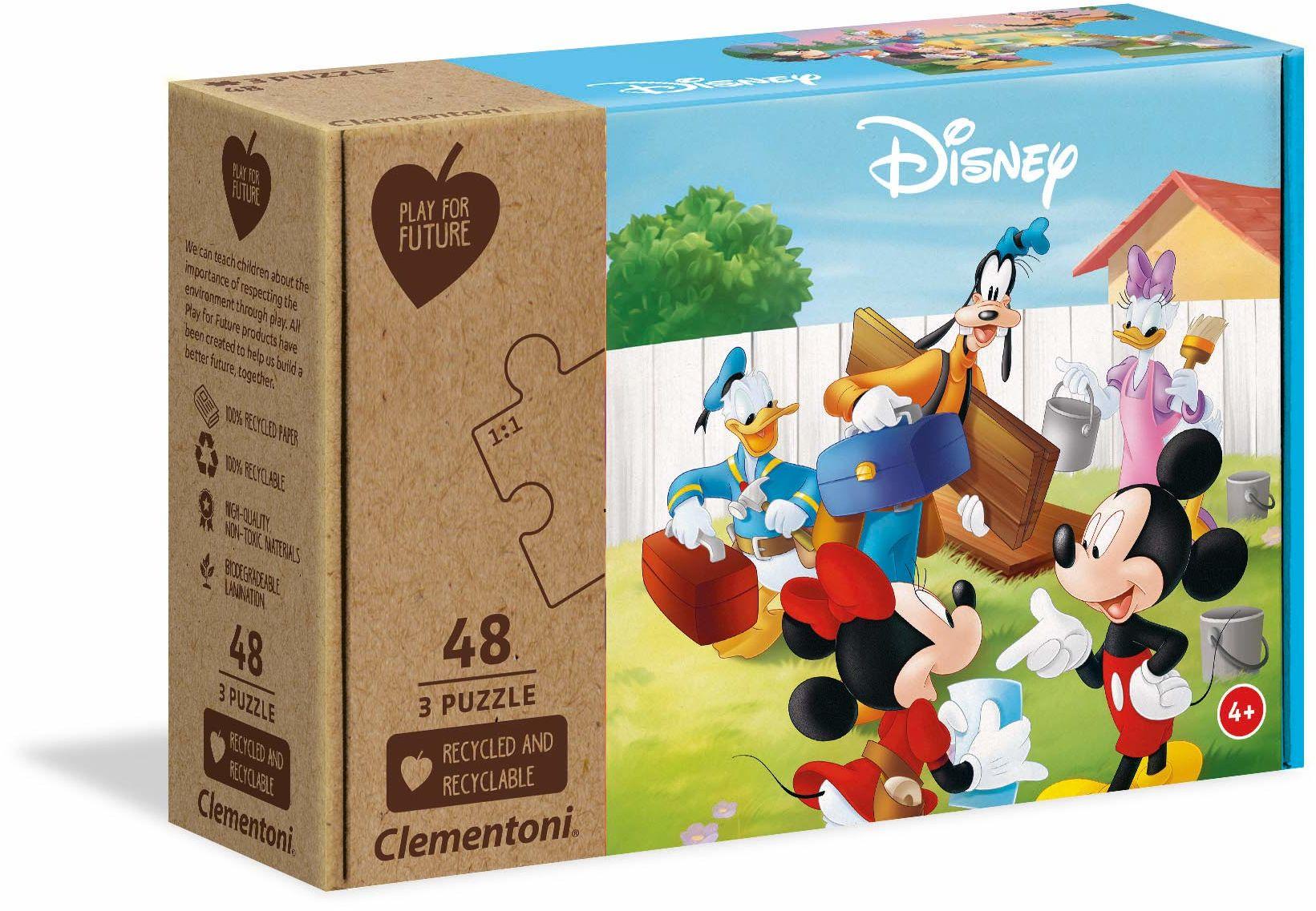 Clementoni 25256 Disney Mickey Classic-3 x 48 sztuk - wyprodukowano we Włoszech - 100% materiały z recyklingu, puzzle dla dzieci