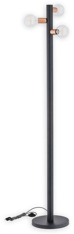 Foco lampa podłogowa 3 pł. / czarny matowy + miedź