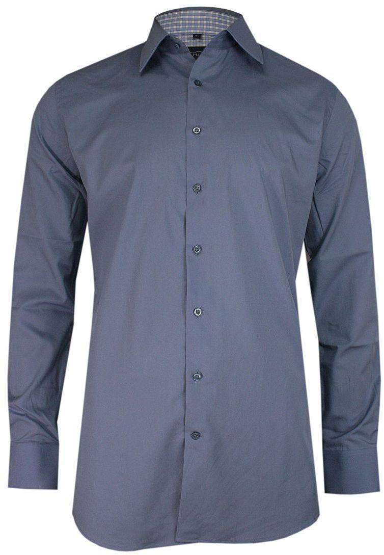 Popielata Elegancka Koszula Męska z Długim Rękawem, 100% Bawełna -CHIAO- Taliowana KSDWCHIAOM2A031C